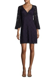 Nanette Lepore Bell-Sleeve Floral Lace Mini Dress