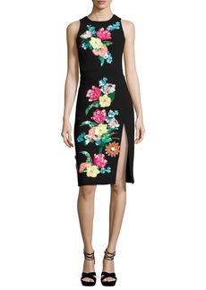 Nanette Lepore Bellefleur Sleeveless Embellished Stretch Crepe Cocktail Dress