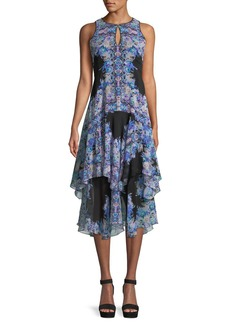 Nanette Lepore Canary Tiered Dress w/ Keyhole Cutouts