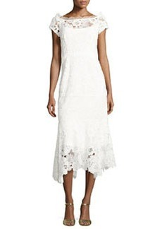 Nanette Lepore Cap-Sleeve Lace Illusion Midi Dress