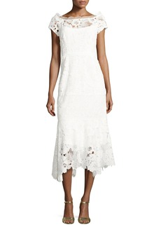 Nanette Lepore Cap-Sleeve Lace Illusion Midi Dress