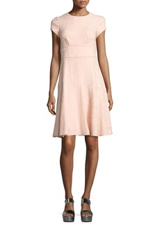 Nanette Lepore Cap-Sleeve Paisley Jacquard Dress