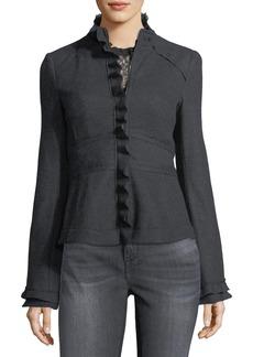 Nanette Lepore Caroline Zip-Front Wool Jacket w/ Ruffled Trim