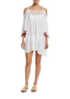 Nanette Lepore Cha Cha Cha Off-the-Shoulder Coverup Tunic with Pompom