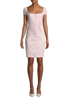 Nanette Lepore Check Me Out Scoop-Neck Gingham Mini Dress