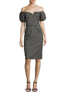 Nanette Lepore Cheeky Off-the-Shoulder Check Sheath Dress