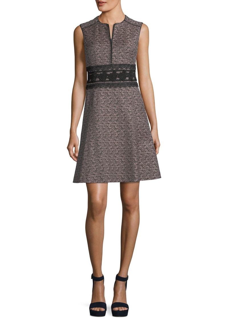 Nanette Lepore Chelsea Sleeveless Jacquard Cocktail Dress w/ Embroidery