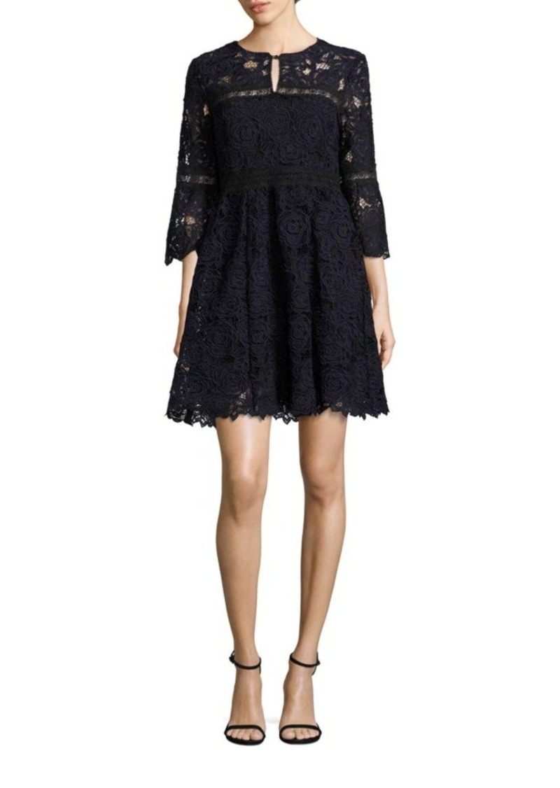 Nanette Lepore Chiaroscuro Bell Sleeve Floral Lace Dress