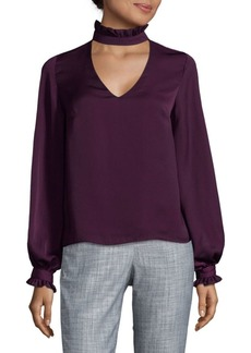 Nanette Lepore Choker Long-Sleeve Blouse