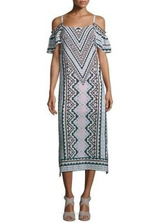 Nanette Lepore Cold-Shoulder Chevron Midi Dress