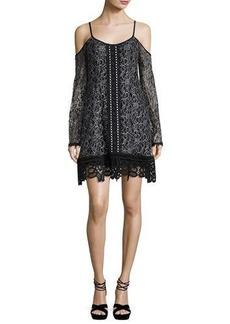 Nanette Lepore Cold-Shoulder Embroidered Lace Mini Dress
