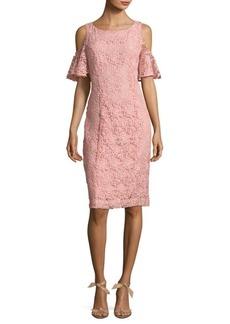 Nanette Lepore Cold-Shoulder Floral Lace Shift Dress