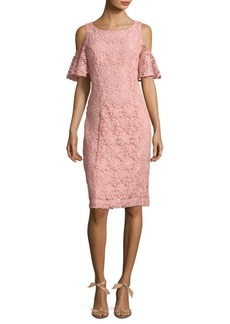 Nanette Lepore Cold-Shoulder Floral Lace Shift Dress