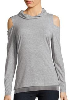 Nanette Lepore Cold Shoulder Heathered Top
