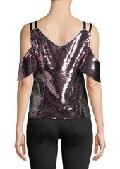 83a27c1979158 ... Nanette Lepore Cold-Shoulder Sparkle Sequin Top