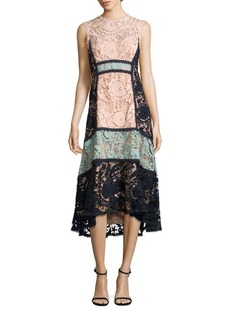 Nanette Lepore Colorblock Lace Midi Dress