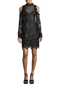 Nanette Lepore Corine Cold-Shoulder Sequin Lace Cocktail Dress