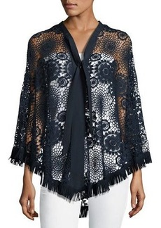 Nanette Lepore Crochet-Lace Fringed Poncho