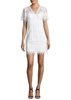 Nanette Lepore Dandelion Short-Sleeve Lace Shift Dress