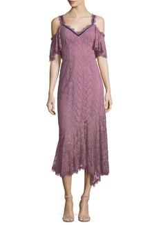 Nanette Lepore Debbie Lace Cold-Shoulder Slip Dress w/ Velvet Trim
