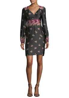 Nanette Lepore Dotted Satin Floral Border-Print Long-Sleeve Day Dress