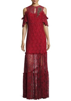 Nanette Lepore Embellished Cold-Shoulder Lace Gown