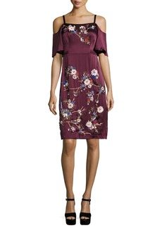 Nanette Lepore Embroidered Cold-Shoulder Silk Satin Dress
