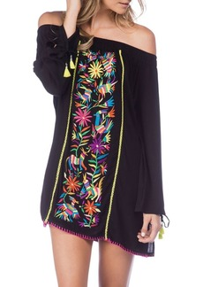Nanette Lepore Embroidered Off-Shoulder Tied Coverup Dress