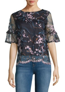 Nanette Lepore Embroidered Ruffle Top