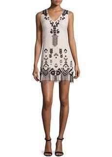 Nanette Lepore Embroidered Sheath Dress W/Fringe