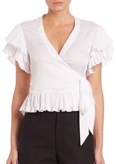 Nanette Lepore Faux Wrap Flutter Sleeves Top
