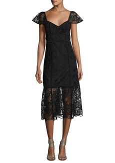 Nanette Lepore Firefly Cap-Sleeve Lace Midi Dress