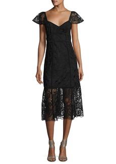 Nanette Lepore Firefly Cap-Sleeve Lace Midi Dress
