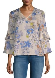 Nanette Lepore Floral Bell-Sleeve Blouse