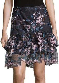 Floral Embroidered Tiered Skirt
