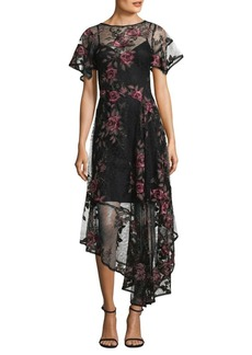 Floral Flamenco Asymmetrical Chiffon Frock Dress