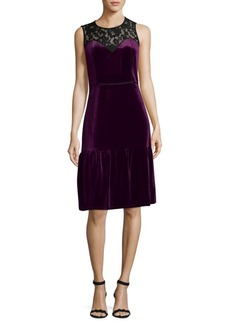 Nanette Lepore Floral Lace Velvet Shift Dress