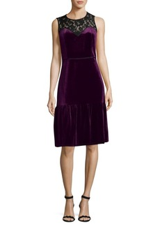 Nanette Lepore Floral Lace Velvet Shift Dress