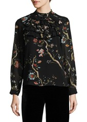 Nanette Lepore Floral Pleated Blouse
