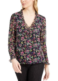 Nanette Lepore Floral-Print V-Neck Top, Created for Macy's