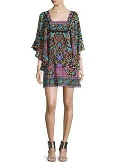 Nanette Lepore Flutter-Sleeve Mixed-Print Mini Dress