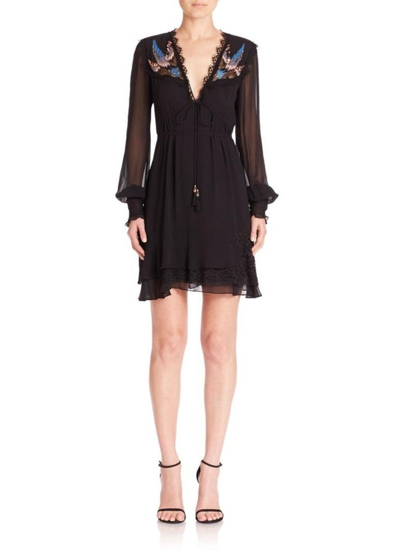 Nanette Lepore Fly Free Silk Embellished Dress