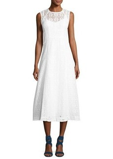 Nanette Lepore Fringed-Hem Lace Frock Dress
