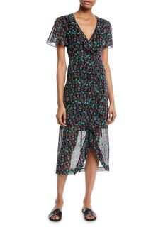 Nanette Lepore Getaway Floral Silk V-Neck Dress