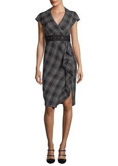 Nanette Lepore Gloria Cap-Sleeve Plaid Faux-Wrap Dress