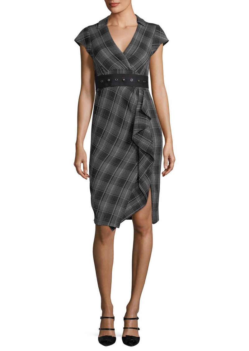 Nanette Lepore Gloria Cap-Sleeve Plaid Faux-Wrap Dress