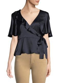 Nanette Lepore Harlow Silk Peplum Wrap Top