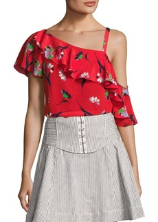 Nanette Lepore Hazy Days Asymmetric Floral Silk Top
