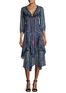 Nanette Lepore Janis V-Neck Paisley Chiffon Dress w/ Lace