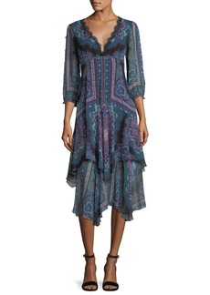 Nanette Lepore Janis V-Neck Paisley Chiffon Dress w/ Lace